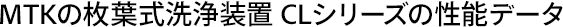 MTKの枚葉式洗浄装置 CLシリーズの性能データ