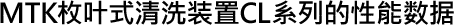 MTK枚叶式清洗装置CL系列的性能数据